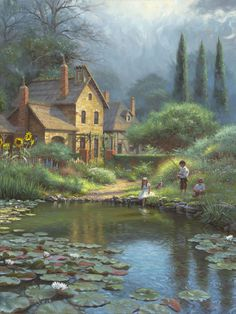 Peaceful Times by Mark Keathley ~ children fishing lily pond country summer
