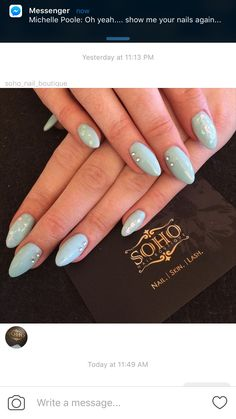 Icy blue and glitter for New Year's Eve nails. By Melissa at SOHO Nail Boutique in Vancouver, BC.