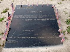 The third crash site was the middle of a field in Pennsylvania. There is supposition but no proof of where the plane was headed. On flight 93 the passengers found out about the previous attacks and decided to try to overpower the hijackers. Flight 93 Memorial, 911 Memorial, We Will Never Forget, Let It Be, Lets Roll, Patriots Day, World Map App, Losing A Loved One, Airline Flights