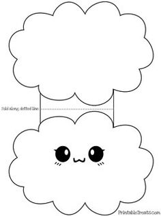 Here is the perfect printable cloud card template to print off, cut, and decorate. Lap Book Templates, Card Templates Printable, Felt Templates, Scrapbook Templates, Printables, Felt Diy, Felt Crafts, Paper Crafts, Cloud Template