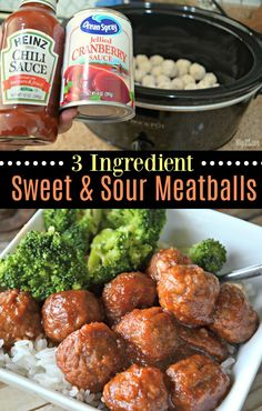 Make life easier with this family-friendly 3 ingredient slow cooker sweet and sour meatballs dinner idea!