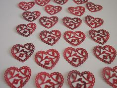 20 Scalloped Lace Heart Punch Die Cuts,  Vellum Paper, INVITATIONS, ALTERED ART
