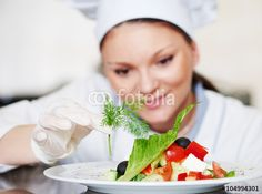 female cook chef decorating prepared salad food Stock Foto, Chef, Cottage, Female, Cooking, Pictures, Royalty Free Images, Casa De Campo, Kochen