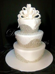 White & Silver Pearl Wedding Cake