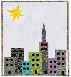 Create your very own city with this free pieced quilt pattern. Using simple techniques, build your city block by block. Find the free quilt pattern here House Quilt Patterns, House Quilt Block, House Quilts, Barn Quilts, Quilt Patterns Free, Pattern Blocks, Quilt Blocks, Free Pattern, Block Patterns