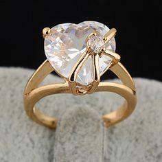 Chapado en oro circón anillo de bronce J0864 – USD $ 5.99