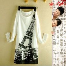 Womens Fashionable Eiffel Tower Print Round Neckline Long Blouse