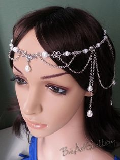 Floral Pearl Renaissance Medieval Celtic Circlet Headpiece Headdress Wedding Hair Accessory