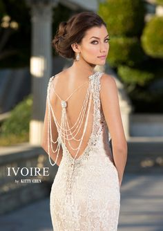 Keep everything in balance on your wedding day and wear the Libra back necklace from the 2016 Ivoire by Kitty Chen New York collection....