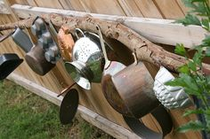 banging wall on a branch - hang above sandbox, place hooks in branch to hang sand toys & double duty as music wall. Outdoor Play Spaces, Outdoor Areas, Outdoor Fun, Mud Kitchen, Outdoor Classroom, Classroom Ideas, Backyard Play, Music Wall, Outdoor Learning