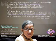 The Equal Rights Amendment is a constitutional amendment that will guarantee legal gender equality for women and men. This website is dedicated to educating and inspiring citizens to ratify the ERA, which was written by equal rights activist Alice Paul in Equal Rights Amendment, Quotation Marks, Ruth Bader Ginsburg, Just Believe, Women In History, Constitution, Human Rights, Food For Thought, Feminism
