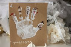 carte handprint peinture enfant main kids hand noel snowman bonhomme de neige rigolo
