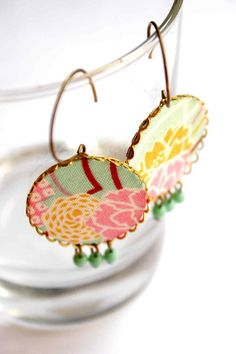 Big Earrings in Turquoise, Yellow and Pink - Japanese Summer