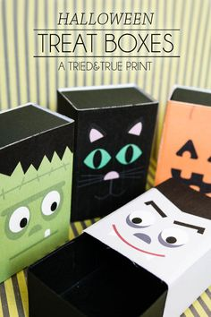 Print out these free Halloween Treat Boxes from Tried & True for all your special spooky treats! Four different designs with tons of different uses!