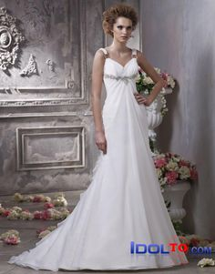 chiffon A-line off-the-shoulder halter sweep train white/ivory sexy spring 2012 Anjolique Wedding  Dresses  AWD188  $339.00 (USD)