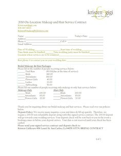 Bridalhaircotract 2010 On Location Makeup And Hair Service Contract