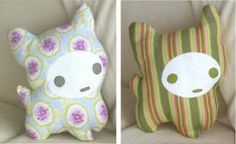 Amy Butlers's free pattern for a stuffed cat toy or pillow.