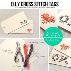 Cross Stitched tags by Have & Hold Design
