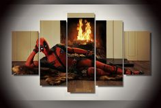 5 Piece Canvas Art Deadpool American Style Wall Art Canvas Painting Posters And Prints Home Decor Wall Pictures For Living Room Art Deadpool, Deadpool Painting, Deadpool Superhero, Deadpool Gifts, Deadpool Stuff, Deadpool Funny, Deadpool Movie, 5 Piece Canvas Art, Canvas Artwork
