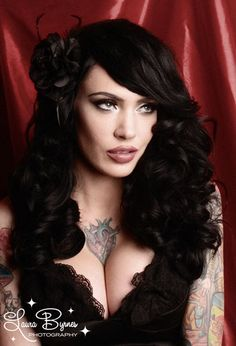 Black Burlesque Pinup Couture hair rose