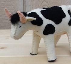 Items similar to Felt Cow, Cow, ETSY Gift on Etsy – Monkey Stuffed Animal Felt Animal Patterns, Stuffed Animal Patterns, Yarn Crafts, Felt Crafts, Sewing Stuffed Animals, Cow Pattern, Waldorf Dolls, Felt Diy, Felt Dolls