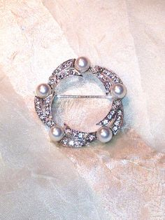 Vintage Wreath Brooch or Circle Brooch Pearls by NorthCoastCottage