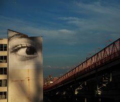 JR Keeps an Eye on The Williamsburg Bridge - Brooklyn Street Art