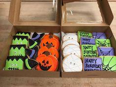 Halloween Birthday Royal Icing Sugar Cookies by @cookiesbykatewi #pumpkin #frankenstein #spiderweb #mummy #witch