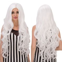 Graceful Long Middle Part White Wavy Women's Cosplay Lolita Synthetic Wig #>=#>=#>=#>=#> Click on the pin to check out discount price, color, size, shipping, etc. Save and like it!