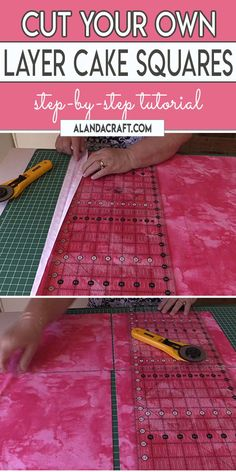 Learn how to cut your own layer cake squares from your yardage. Full step-by-step video and written instructions. Learn how to cut your own layer cake squares from your yardage. Full step-by-step video and written instructions. Quilting For Beginners, Quilting Tips, Quilting Tutorials, Machine Quilting, Quilting Projects, Sewing Tutorials, Layer Cake Quilt Patterns, Layer Cake Quilts, Fabric Squares
