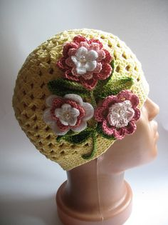 inspiration...Cotton Beanie in Light Yellow with Flowers for by ninellfux,