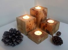 wood art driftwood recycle multi candleT tea light holder wooden rustic stand