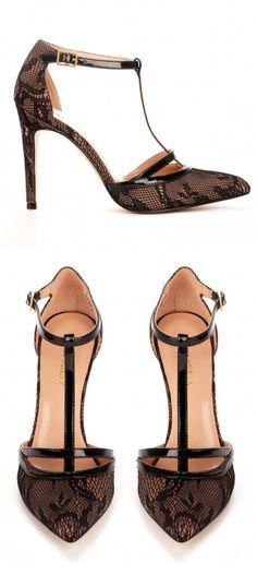 Lace T-Strap Heels