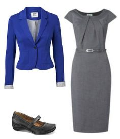 Business Casual Starter Kit Day 3: Cobalt blue blazer (prefer two-buttons, and worn in this case without rolled cuffs), gray dress bought for interview (with gray suit jacket in this kit) shown with belt it came with (may want to replace with a higher quality), black shoes.