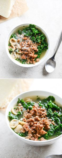 spicy sausage, kale and whole wheat pasta soup I howsweeteats.com