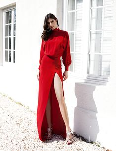 Black Fire, Fiery Red, Silk Crepe, Silhouette Design, Bodice, Wrap Dress, Cocktails, Spring Summer, Turtle Neck