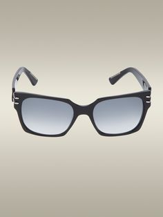 Roland Mouret's Groucho Sunglasses feature a classic black acetate frame, a grey gradated lens and an angular shape with sharp features with a slick, modern Roland Mouret, Lens, Sunglasses, Modern, Black, Trendy Tree, Black People, Klance, Sunnies