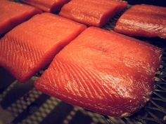 Smoked Salmon. Another brine, looks similar (of not the same) as Alton Brown's. Uses alder chips. Salmon Dishes, Fish Dishes, Seafood Dishes, Grilling Recipes, Fish Recipes, Seafood Recipes, Halibut Recipes, Prawn Recipes, Grilling Tips