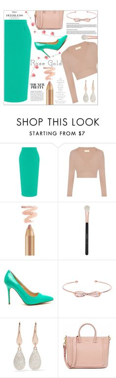 """""""Rose gold"""" by peta-5 ❤ liked on Polyvore featuring Roland Mouret, Morphe, Ted Baker, Monica Vinader and Anja"""