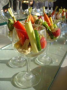 Crudites in wine glasses, a brilliant idea.