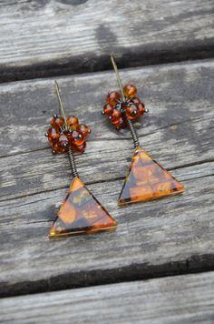 Baltic amber handmade earrings