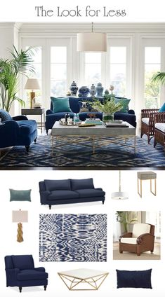 Blue and White Room Perfection: Sourcing an Iconic Room for Less Living Room Decor Brown Couch, Brown And Blue Living Room, Living Room Interior, Home Living Room, Coastal Living Rooms, Formal Living Rooms, Dining Rooms, Blue Rooms, White Decor