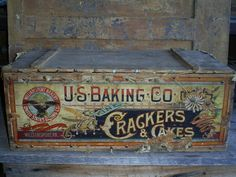 Antique Advertising Wood Box U.S. Baking Co. Shipping Crate Williamsport, PA