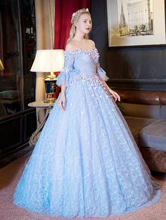 Tbdress.com offers high quality Off-the-Shoulder Ball Gown 3/4 Length Sleeves Lace Quinceanera Dress Ball Gowns unit price of $ 169.99.