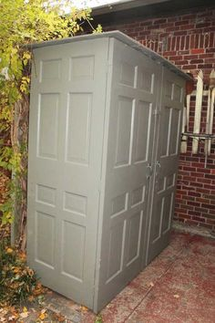 I made this shed out of 6 old doors found on the curb. I made this shed out of 6 old doors found on the curb. I made this shed out of 6 old doors found on the curb. Shed Storage, Small Storage, Diy Storage, Coat Storage, Bathroom Storage, Storage Organization, Outdoor Projects, Home Projects, Outdoor Spaces