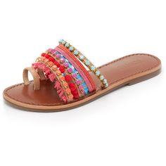Schutz Estelen Toe Ring Slides ($160) ❤ liked on Polyvore featuring shoes, sandals, flat sandal, fringe shoes, beaded flat sandals, flat sandals, multi color sandals and fringe sandals