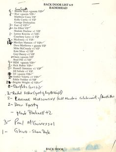 Radiohead guest List for 1997 Irving Plaza Show