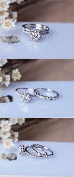 Round brilliant cut diamond halo wedding set