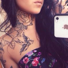 Gosh this is beautiful ! But I only like neck tattoos on other people I think - diy tattoo images Best Neck Tattoos, Girl Neck Tattoos, Neck Tattoos Women, Tattoos Skull, Body Art Tattoos, Brown Tattoos, Tribal Tattoos, Sleeve Tattoos, Tatoo Neck