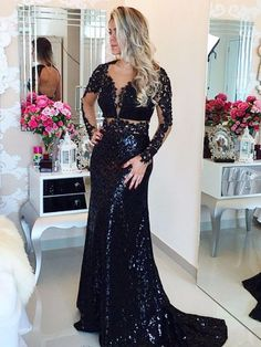 Black Prom Dress Mermaid Prom Dress Lace Prom Gown Backless Prom Dresses Sexy Evening Gowns Sequins Evening Gown Open Back Evening Gown With Long Sleeves Dress For Teens Lace Prom Gown, Mermaid Prom Dresses Lace, Sequin Evening Gowns, Backless Prom Dresses, Dress Lace, Dress Prom, Elegant Bridesmaid Dresses, Prom Dresses 2016, Cheap Prom Dresses